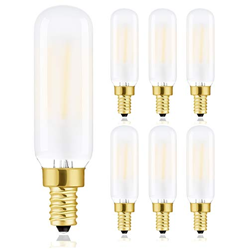 T6 Led Bulb, T6.5 Dimmable E12 Edison Light Bulbs Soft White 3000K, Frosted Glass,600lm, 60W Candelabra Incandescent Bulbs Equivalent Vintage LED Filament Candle Bulb with Decorative, 6Pack.