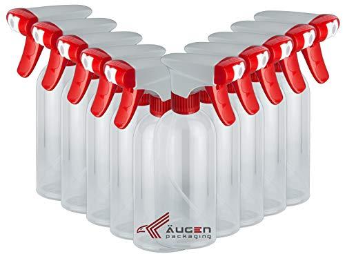 ÄUGEN Packaging | 10 Stück 500ml leere Sprühflaschen | weiß roter Sprühkopf | Spray Bottle