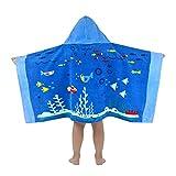 Vine Asciugamano da Spiaggia per Bambini con Cappuccio 100% Cotone Asciugamano da Spiaggia per Bambini Super Morbido/Nuoto/Asciugamano Asciugamano ad Asciugatura Rapida per 3-7 Anni (Oceano Blu)