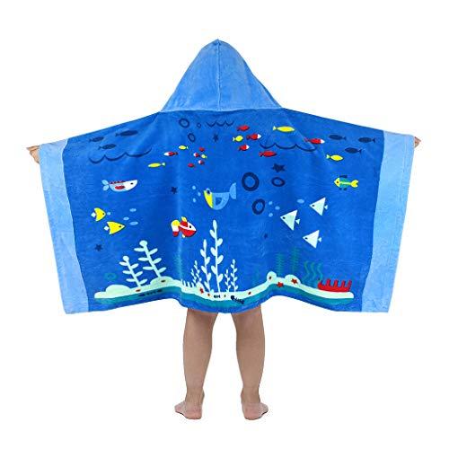 Vine Toalla de baño de Playa con Capucha para niños 100% algodón Súper Suave Toalla de Playa para niños/natación/baño Albornoz de Secado rápido para niños de 3 a 7 años (Océano Azul)