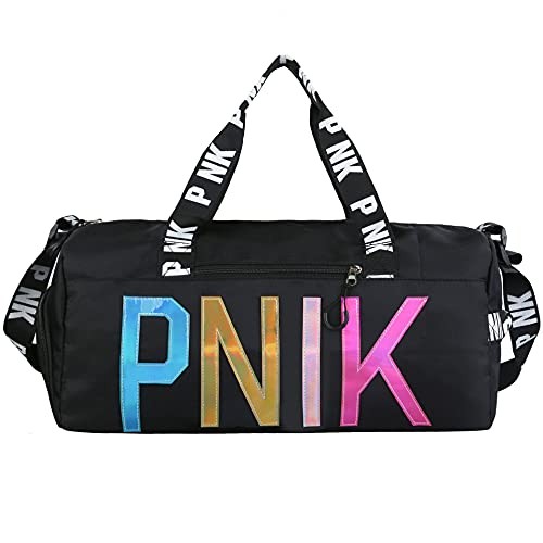 PNIK Gym Bag Colorful Travel Duffel Bag Large Lightweight Sports Duffel Bags Swimming Bag  Gym Bag with Waterproof Shoe Compartment  Weekend Travel Bag with a Water-resistant Insulated Pocket(Black)