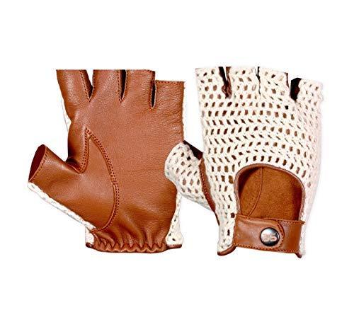 Guantes de ciclismo de piel y gancho de algodón para hombre, estilo retro, de piel de vacuno, con correa de botón a presión, guantes sin dedos de coche, guantes de moto, guantes de bicicleta (XL)