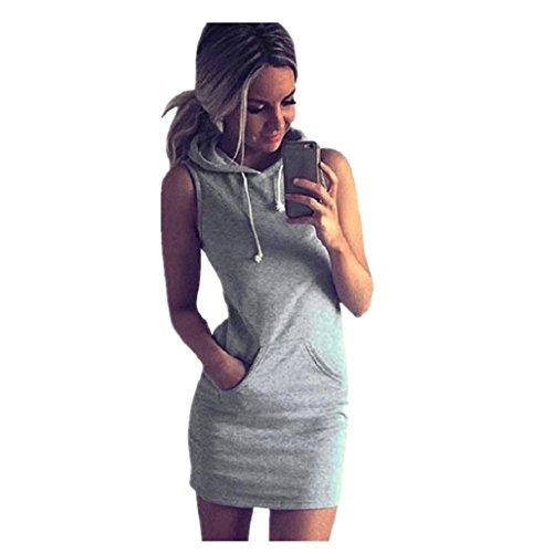 Elecenty Damen Hoodie Sommerkleid,Ärmellos mit Taschen Rock Mädchen Hemdkleid Blusekleid Kleider Frauen Mode A-Linie Kleid Minikleid Knielang Kleidung Abendkleider Partykleid (M, Grau)