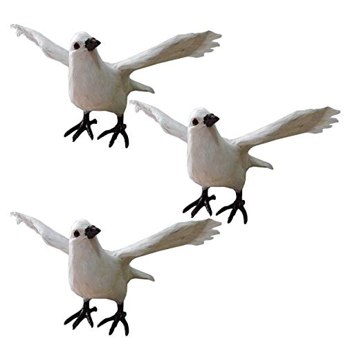 ALBB 3PCS Simulated Pigeon Model - Simulation Standing Spread Wings Pigeon Ornaments - Realistic Plush Animal Model Simulation Pigeon Miniature Animal Toy Collection Figurine