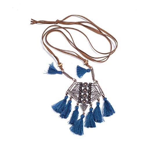 TTDAltd Collar Boho Vintage declaración Borla Collar Bohemio Largo Flecos Colgantes Collares para Mujeres Encanto suéter Cadena joyería