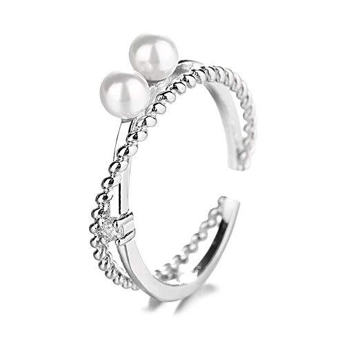 Frío viento índice dedo anillo femenino moda personalidad luz lujo doble capa flash diamante cruz perla anillo joyería