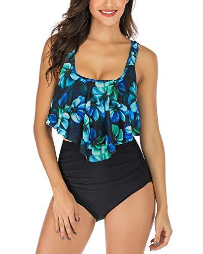 WateLves Damen Druckt Bikini Zweiteilige Floral Retro High Waist Bikini Set Rüschen Backless Top Taille Falten Bademode Bedeckte Bauch(Blaue Blume, XL)