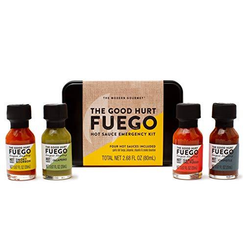 Modern Gourmet Foods Hot Sauce Fuego Notfall-Set - mit 4 Scharfen Chili-Saucen in cooler Geschenkbox