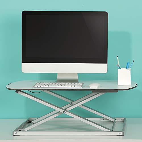 RICOO TS1111, Sitz-Steh Schreibtisch-Aufsatz, Höhenverstellbar, Ablage-Fläche für Tastatur, Maus, Monitor, Work-Station Tisch-Aufsatz, Silber Weiß