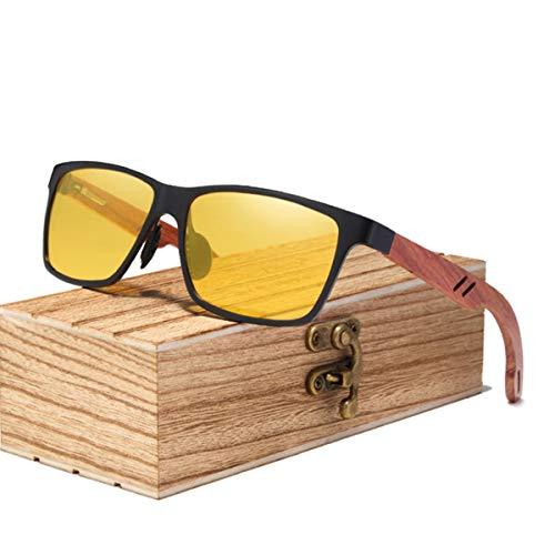 UKKD Gafas De Sol Mujeres Gafas Retro De Las Mujeres del Diseñador De La Marca Gafas De Sol Hombres Vintage Aluminio + Gafas De Sol De Madera para Hombres con Estuche De Madera-Yellow Bubinga Wood