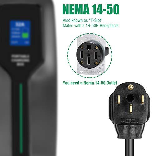LEFANEV 32 Amp EV Charger Level 2,(NEMA 14-50, 32A/25ft,220V-240V,7.68KW) Portable EVSE Electric Vehicle Charging Station for SAE J1772 Electric Cars (32A EV Charger)