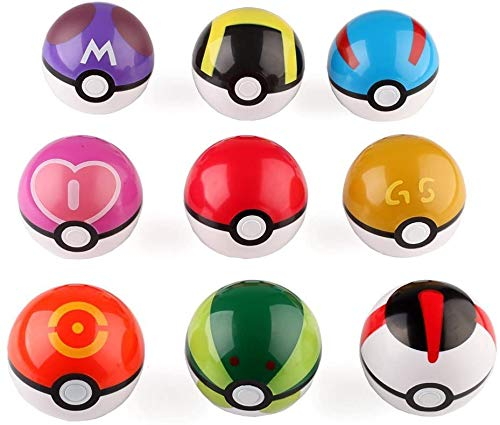 sqzkzc 9pcs Ball Master Great Ultra GS Pokeballs + 24pcs Action Figures Cosplay Pop-up Ball Kid Toys Plastic Super Anime Pokeball Figure Variable Bouncing Child