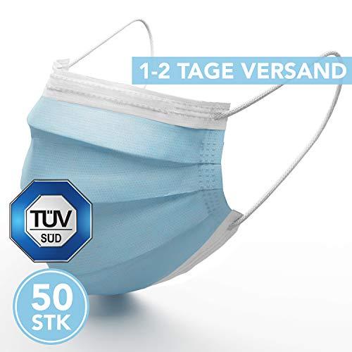 Medizinische Mundschutz Maske - TYP II TÜV zertifizierte Schutzmasken - 50 Stück 3-lagige Gesichtsmaske nach EN 14683:2019 geprüft