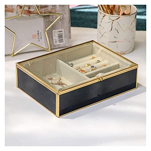 Maquillaje exquisito Caja de joyería de vidrio transparente Organizador de joyería de terciopelo Elegante apariencia de mármol y marco chapado en oro para el anillo y pulsera del collar del pendiente,