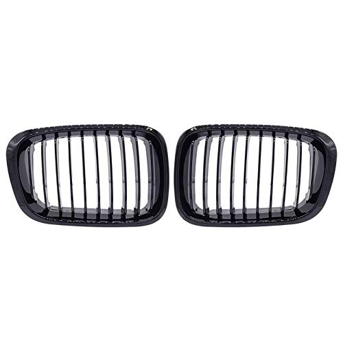 Autorennen-Grills Kidney Frontgrill 1 Paar ABS Schwarz-Car Front-Center Ierengitter Fit For BMW 3er E46 Compact 325ti / 328i / 320i / 316ti / 330d 2001-2005 (Color : Gloss Black)
