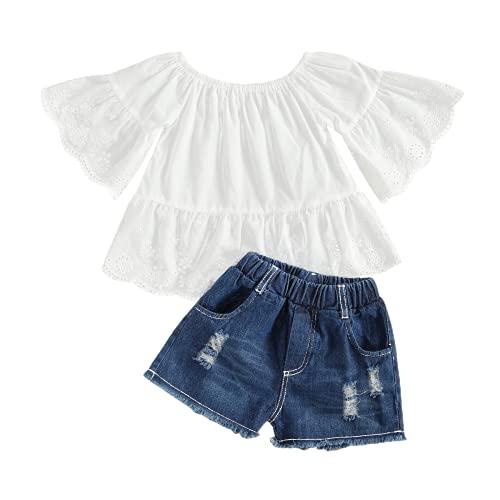 Geagodelia Kinder Mädchen Sommer Outfit 2PCS Kurzarm Bluse + Lang Denim Jeans Hosen 1-6 Jahre Schulterfrei Top Babykleidung Set Baby Mädchen Kleidung (Weiß Oberteil+Shorts, 6-7 Jahre)