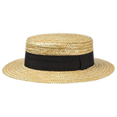 Lipodo Sombrero de Paja Canotier Mujer/Hombre - Made in Italy Verano Marinero Sombreros con Banda Grosgrain Primavera/Verano - 59 cm Natural