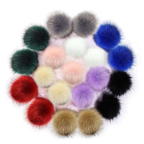 20 PCS Faux Fox Fur Pom Poms Ball for Knitting Hat