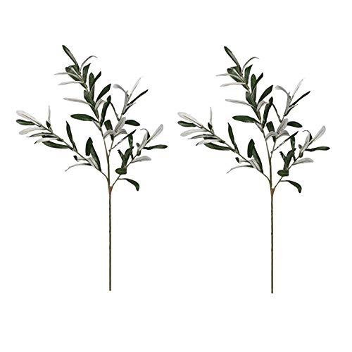 TETHYSUN 2 ramas de oliva artificial, 30 ramas de seda para plantas, hojas de ramas, tallo para hogar, hotel, boda, decoración de bricolaje
