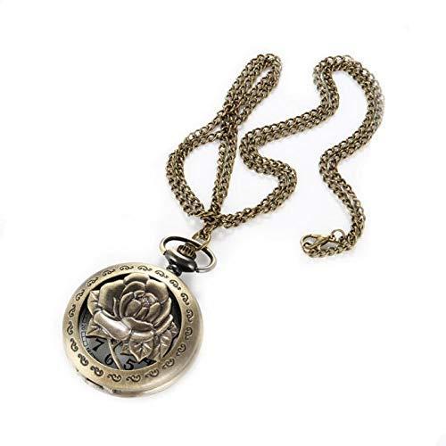 J-Love Reloj de Bolsillo Vintage Antiguo Hueco Flor Rosa Cuarzo Reloj de Bolsillo Collar Colgante Cadena Reloj Mujeres Hombres Regalos de cumpleaños