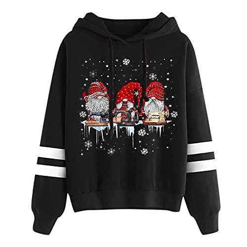 Honestyi Navidad Sudaderas Mujer Con Capucha Baratas, Sudaderas Con Estampado De Gnomos Hoodie Mujer Sueter Manga Rayada Sweatshirt Casual Con Cordones Navidad Pullover Invierno