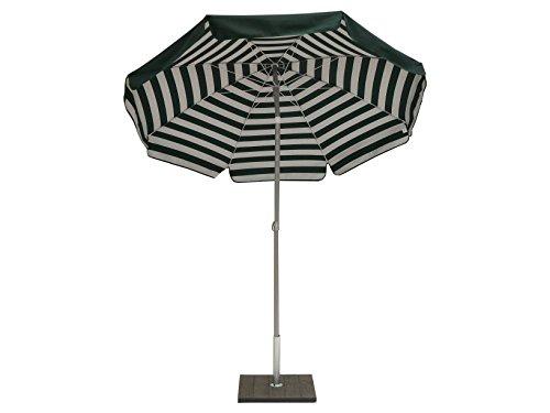 Maffei - Art. 181 «Venezia» - Parasol rond en coton duplex (⌀ 200 cm) Produit fabriqué en Italie. Couleur : rayures vertes.