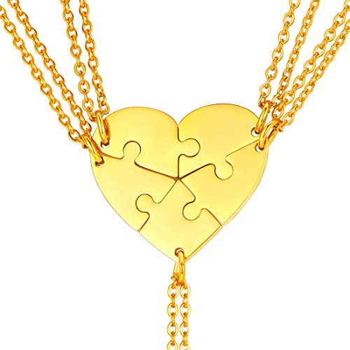 U7 Regalo Cumpleaños Navidad Collares Combinados de Corazón Dividido 5 Piezas con Cadena Delgada Acero Inoxidable para Chicas Puzzle Rompecabezas Colgantes