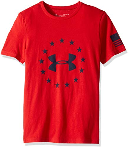 Under Armour Boys' Freedom Logo T-Shirt, Red (600)/Academy, Youth X-Large