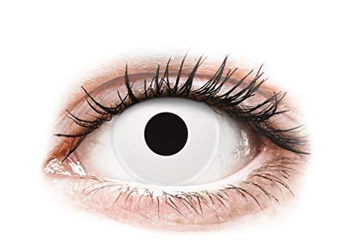 Farbige Kontaktlinsen, Halloween, Fasching, weich, weiß ohne Stärke Jahreslinsen 2 Stück - angenehm zu tragen, perfekt zu Halloween, Karneval, Fasching, Junggesellen abschied, Party