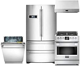 600 Series 4-Piece Stainless Steel Kitchen Package with FM36CDFDS1 36 French Door Refrigerator F6PDF304S1 30 Freestanding Dual Fuel Range F6DW24SS1 24 Fully Integrated Dishwasher and F6PH30S1 30 Professional Range Hood