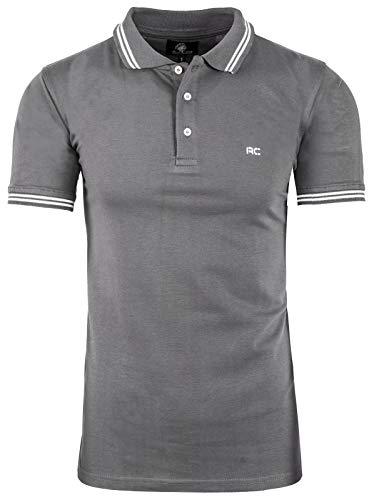 Rock Creek Herren Polo T-Shirts Basic Shirt Kurzarm Poloshirt Polohemd Slim Fit Sommer Shirts Männer T Shirt Top Polokragen H-177 Dunkelgrau XL