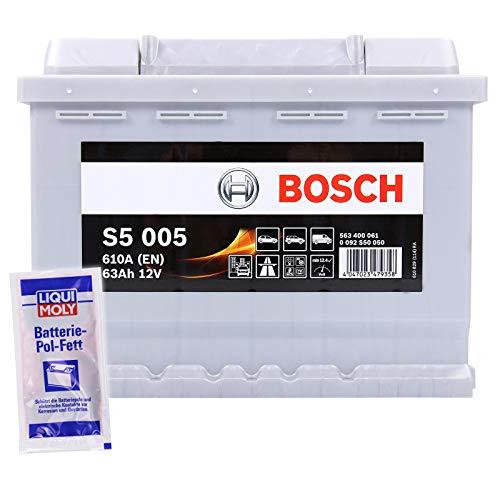 BOSCH S5 005 63Ah 12V 610A AUTOBATTERIE STARTERBATTERIE BATTERIE ERSETZT 58Ah 60Ah 61Ah 62Ah 63Ah + BATTERIE-POLFETT