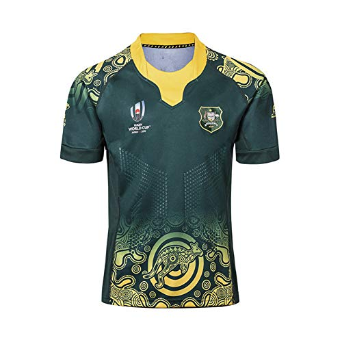 WYNBB 2019 Weltmeisterschaft Rugby Jersey Rugby-Trikot Australian Home/Away für Männer Kurzarm-Freizeit-T-Shirt-Trainingsanzüge Australien Heim Auswärts,Green,L/180-185CM