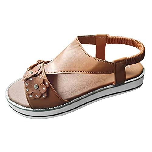 JDGY Sandalias de mujer para mujer, gruesas, deportivas, para verano, sandalias planas, sandalias de playa, zapatillas de estar por casa o para la playa, marrón, 42