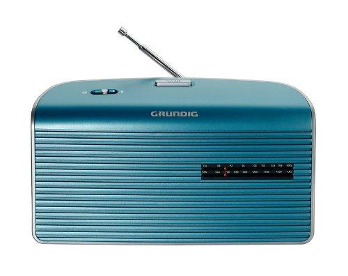 Grundig Music 60 - Radio (Personal, Analógica, Am, FM, 9 cm, 3,5 mm, 25 cm) Plata, Turquesa