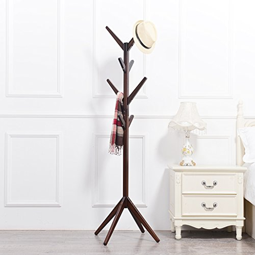 Kleiderablage Multifunktionale Massivholz Vertikale hängende Kleidung Regenschirm Boden Kleidung Kleiderständer (Farbe : Brown)