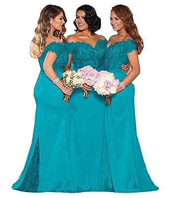 Fanciest Women's Satin Mermaid Bridesmaid Dresses Long 2021 Appliques Trumpet Evening Formal Gowns for Juniors Teens Turquoise US16