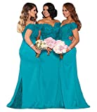 Fanciest Women's Satin Mermaid Bridesmaid Dresses Long 2021 Appliques Trumpet Evening Formal Gowns for Juniors Teens Turquoise US8