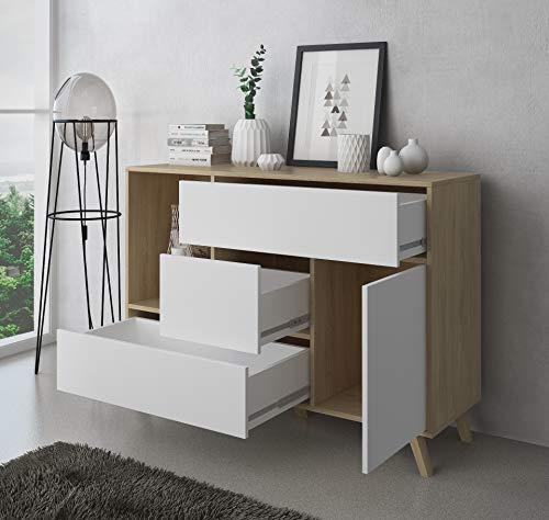 SelectionHome - Mueble Aparador de Salon Comedor 1 Puerta y 3 cajones, Buffet, modelo Wind, Color Puccini y Blanco, Medidas: 120 cm (largo) x 40 cm (fondo) x 85,6 cm (alto)