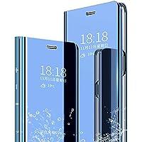 HonwYes 電話ケース Oppo A8 ケースと互換性があり ミラースリム薄型スタンドバンパー人気ファッショ ン財布型全面保護耐衝撃鏡メッキフリップ耐汚れ 滑り防止 反塵 薄型 磁性技術 カバー青 スクリーンプロテクター2