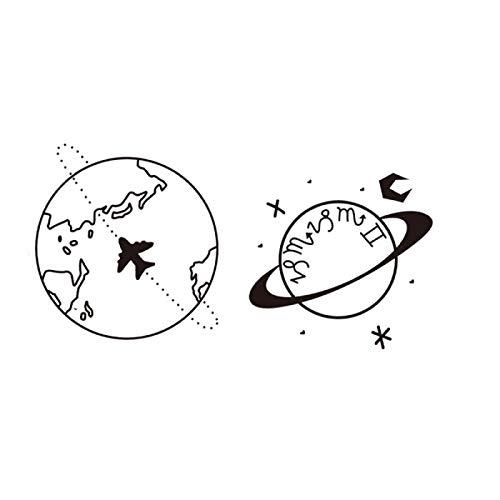 YLGG Etiquetas engomadas temporales del Tatuaje de la Moda del Planeta Tierra, adecuadas para Hombres y Mujeres, Impermeables, extraíbles