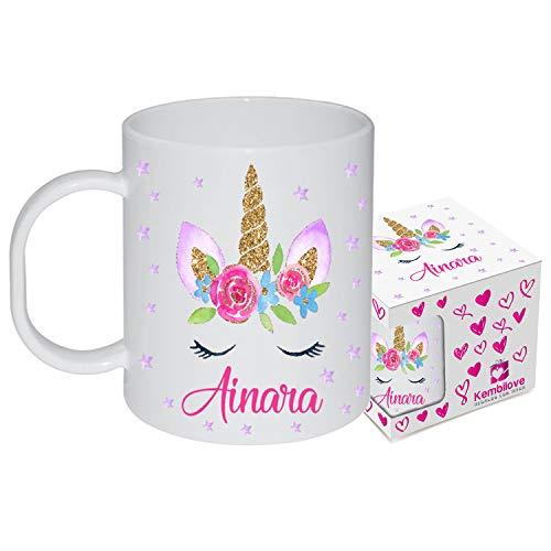 Kembilove – Taza de Desayuno Infantil Personalizada – Tazas Plástico Personalizadas con el Nombre del Niño o Niña Niños – Vuelta al Cole – Taza Plástico Unicornio