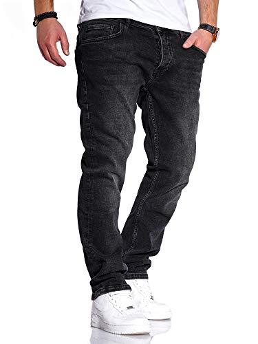 Rello & Reese Herren Jeans Straight Fit Denim Hose Regular Stetch JN-221 [Schwarz, W36/L30]