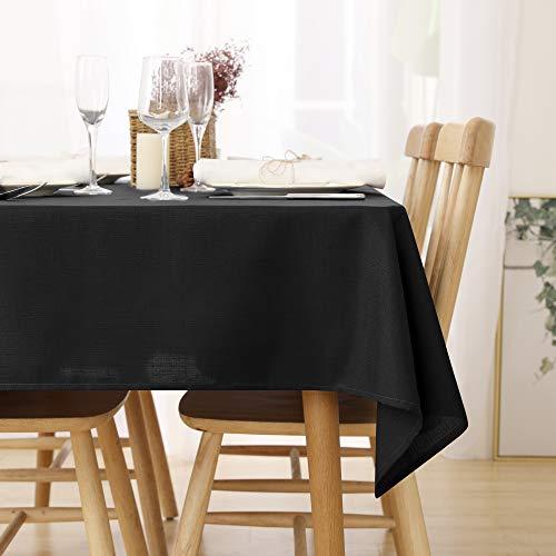 Deconovo Leinenoptik Tischdecke Wasserabweisend Tischwäsche Lotuseffekt 130x280 cm Schwarz