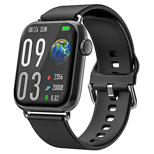 Ezanaki Smartwatch, 1.69Inch Reloj inteligente con Monitor de Frecuencia Cardíaca, Monitor de Sueño, Oxígeno Sanguíneo, Smart Watch IP68 Impermeable con Podómetro Caloría para Hombre Mujer (Negro)