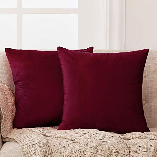 Deconovo Fundas para Cojines de Almohada del Sofá Cubierta Suave Decorativa Protector para Hogar 2 Piezas 45 x 45 cm Rojo Vino