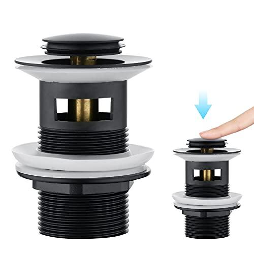 CREA Tapones de Desagüe Lavabo, Universal Click-Clack Válvula Desagüe con Rebosadero, Pop-Up Válvula Desagüe, Negro Mate