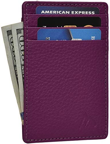 Minimalist Wallets for Men Women RFID Front Pocket Leather Card Holder Wallet Magenta Leather product image
