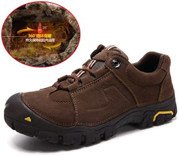 LOVDRAM Chaussures en Cuir pour Hommes New Hiking chaussures Public Version Sports Outdoor Casual chaussures Leather Autumn and Winter Men's chaussures Large Taille 9006