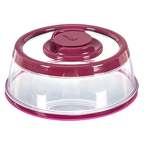COOK CONCEPT - Cloche Vide d'air - Diamètre 19 cm - Plat fraicheur - Bouton Vide Air Intégré KB6045 Violet 19 x 7,7 cm